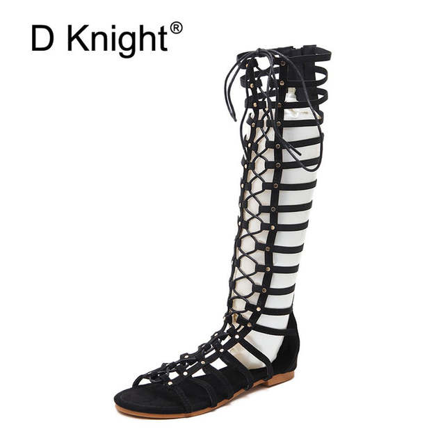 00951ae701b US $31.49 39% OFF|2019 Summer Boots Women Fashion Rivet Cut outs Flats  Shoes Woman Cross tied Gladiator Sandals For Women Black Knee High Boots-in  ...