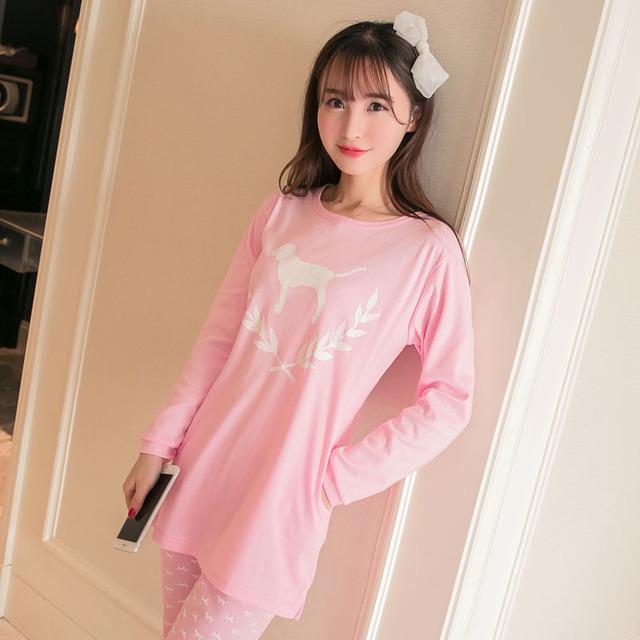 2016 nova outono mulheres ' s pijamas define girls ' rosa bonito cão dos desenhos animados impresso calças camiseta de manga comprida Sleepwear frete grátis