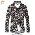 Super gran tamaño floral camisa masculina 7xl 6xl brand clothing Slim Fit Camisa de Los Hombres de Impresión de La Flor Camisa de Manga Larga 2017 nueva