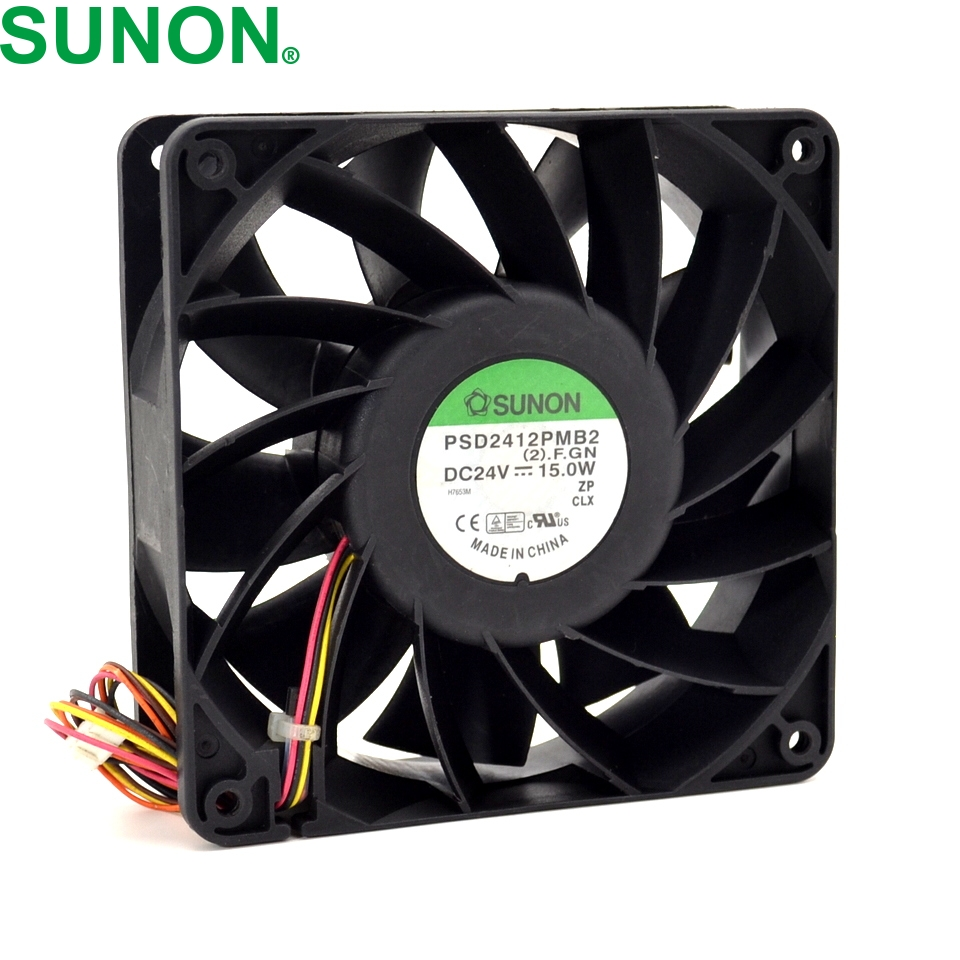 SUNON New 12CM wind capacity inverter fan 12038 24V 15W PSD2412PMB2 120*120*38mm delta afb1212hhe 12038 12cm 120 120 38mm 4 line pwm intelligent temperature control 12v 0 7a