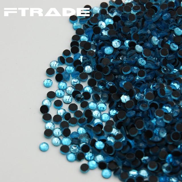Hot Sale! SS6-SS30 1440pcs Aquamarine Color Hot Fix Rhinestone Flatback DMC  Hotfix Transfer Iron-on Glass Beads for Wedding 0e9f8a511341