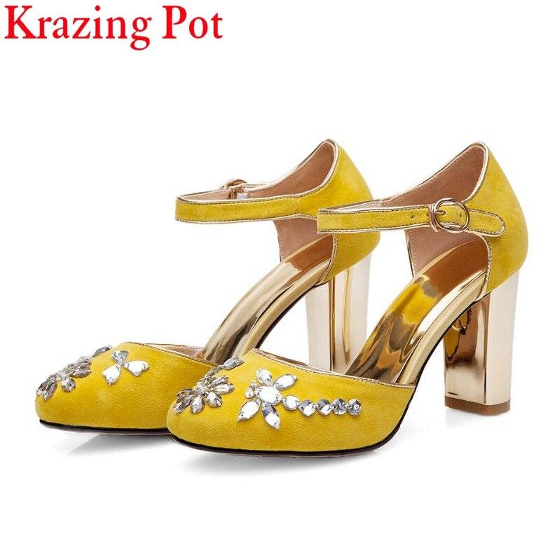 Dedo Alto Zapatos azul Redondo Nueva Marca Oficina Fiesta Negro Bombas  Tobillo Moda Gran amarillo Dama Correa Talón Pie L99 Las Mujeres Dulce ... c80470fab463