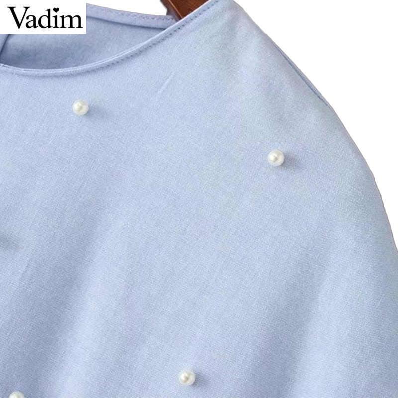 Vadim doux volants perles perles perles plissée robe à manches courtes O cou femme mignon chic décontracté mini lâche bleu vestidos QZ3044