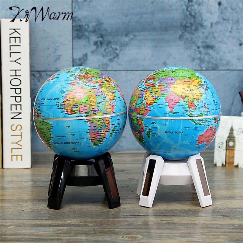 Kiwarm hot sale 14cm solar powered rotating world map globe kiwarm hot sale 14cm solar powered rotating world map globe geography atlas with led light stand home office ornament decoration in figurines miniatures gumiabroncs Images