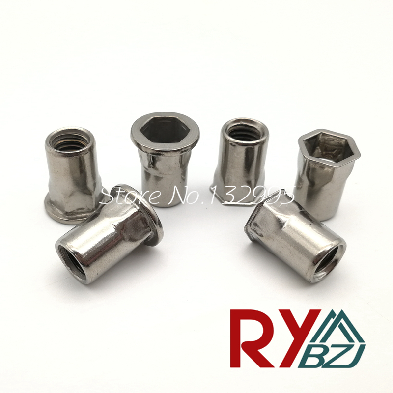 M4 M5 M6 M8 M10 M12 SUS 304 Flat head hex rivet nut Reduce head hex rivet nut small head rivet nut Insert nut Blind rivet