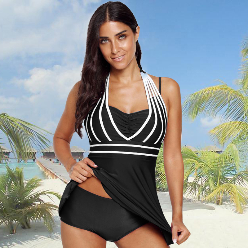 Sexy WomenTwo Pieces Set Spahetti Straps Halter Contrast Stripes Padded Pleated Top Low Waist Briefs 2 Piece Suit Beach Wear