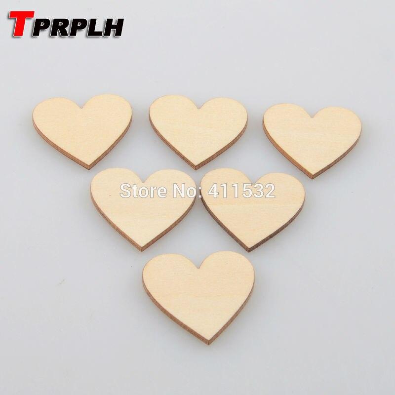 100 unids/lote 3 cm madera corazón amor en blanco sin terminar ...