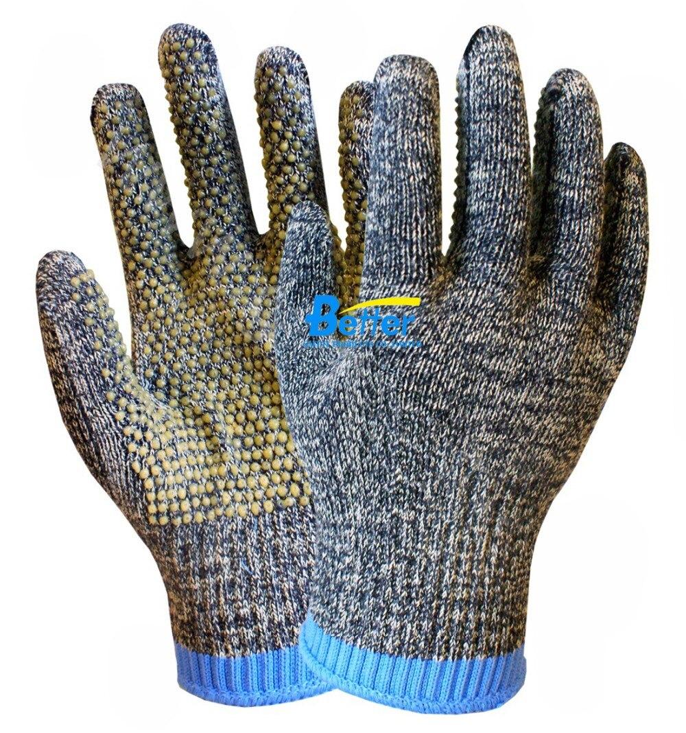 Anti Slip Aramid Fiber Working Glove 10 Guage Camouflage HPPE PVC Dots Work Gloves