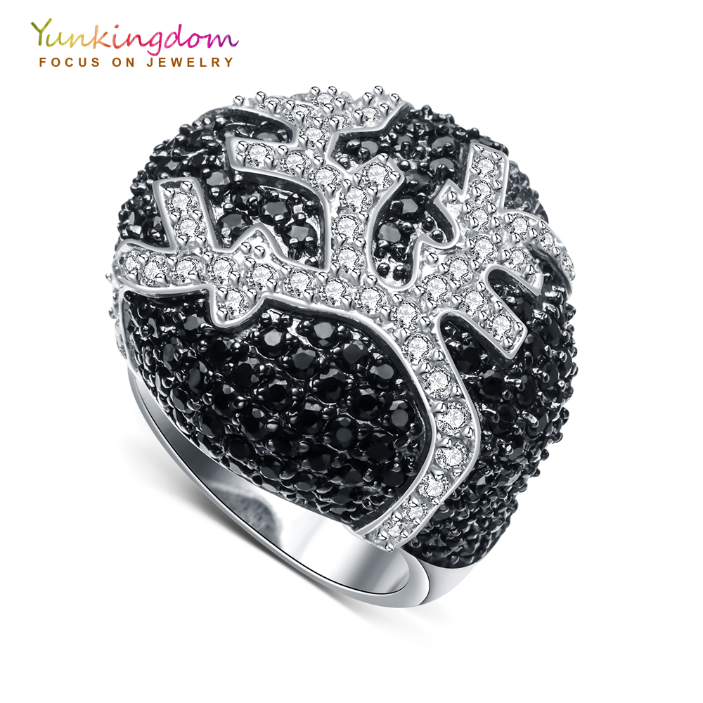 Yunkingdom exaggerated gorgeous womens rings black crystal cz big rings for women luxury fashion jewelry big crystal rings black white smooth ceramic rings with bling big transparent rhinestone women fashion jewelry rings for women