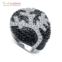 Yunkingdom Vintage Fine Rings For Women Black Zirconia Flower Wedding Jewelry Rings M0380