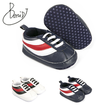 newborn Soft bottom Comfortable baby shoes Indoor slip toddler Black red stripes shoes Breathable First Walkers girls boys shoes