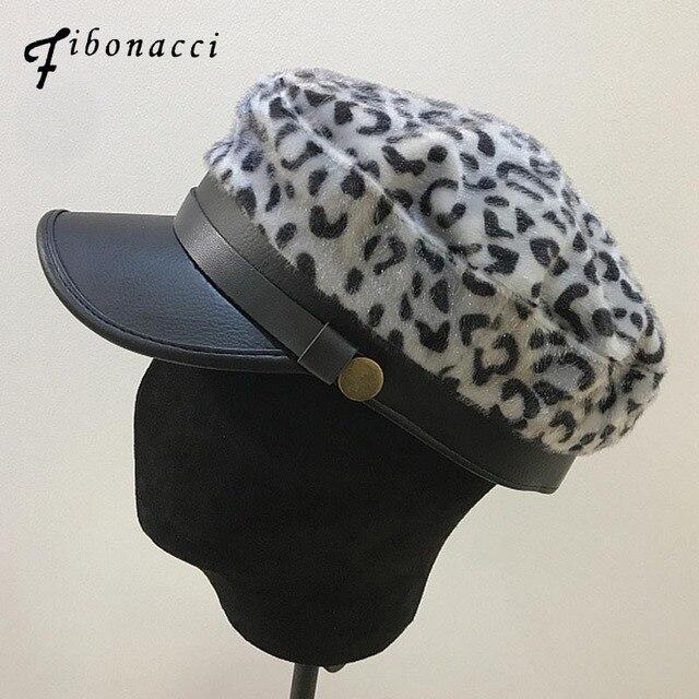 def8efc7bfcbd Fibonacci 2018 New Faux Fur Leather Military Hat Cap Fashion Sexy Leopard  Print Autumn Winter Belt