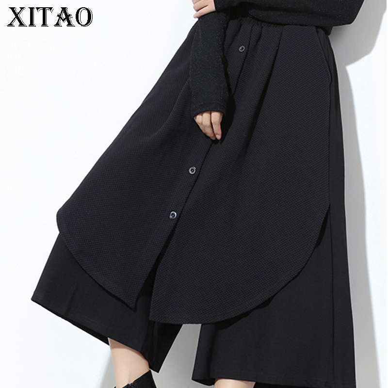 [XITAO] 2017 New Europe Autumn Casual Women Solid Color Buttons Pocket Patchwork Elastic Waist Calf-Length   Wide     Leg     Pants   XWW593
