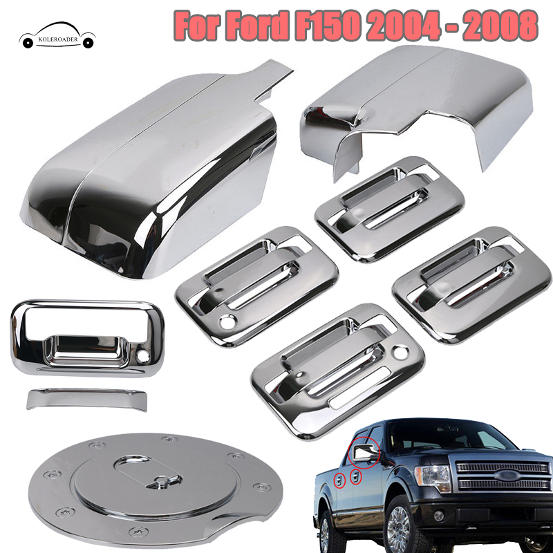 Rearview Mirror Protection 4 Door Handle Cover Rear Tailgate Covers Fuel Tank Gas Door Cap For Ford F150 2004-2008 KOLEROADER //
