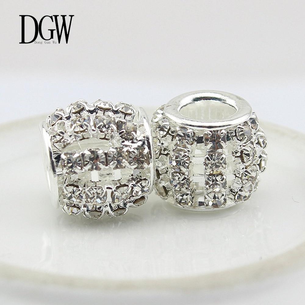 2021464f7 DGW 7 color DIY European Beads for Pandora Jewelry CZ Diamond Silver Charm  Beads Fit Pandora