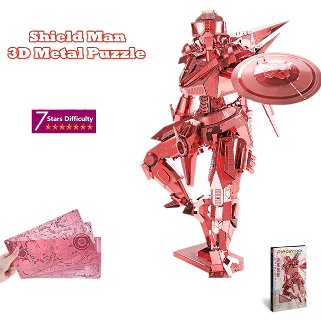 "Piececool 7 Stars Difficulty Level 3D Metal Puzzle of ""Shield Man Robots"" Red Color 3D DIY Assembly Model Kits for Children GIft"