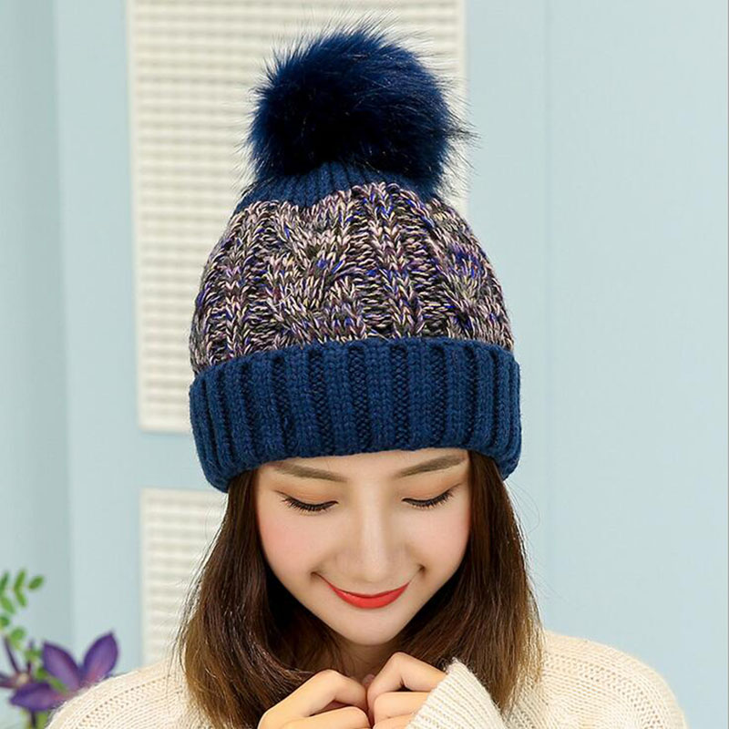 oZyc mink and fox fur ball cap pom poms winter hat for women girl 's hat knitted beanies cap brand new thick female cap Warm hat gmancl real mink fur real fox ball cap for women girl s hat pom poms winter knitted beanies cap thick female genuine fur beanies