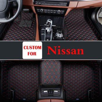 Car Floor Leather Mats Pads For Nissan Patrol Cima Qashqai Fuga Livana March Pathfinder Parts Auto Decorun Custom