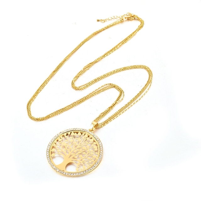 Gold Plated Tree of Life Pendant Necklace with Zircon Crystals
