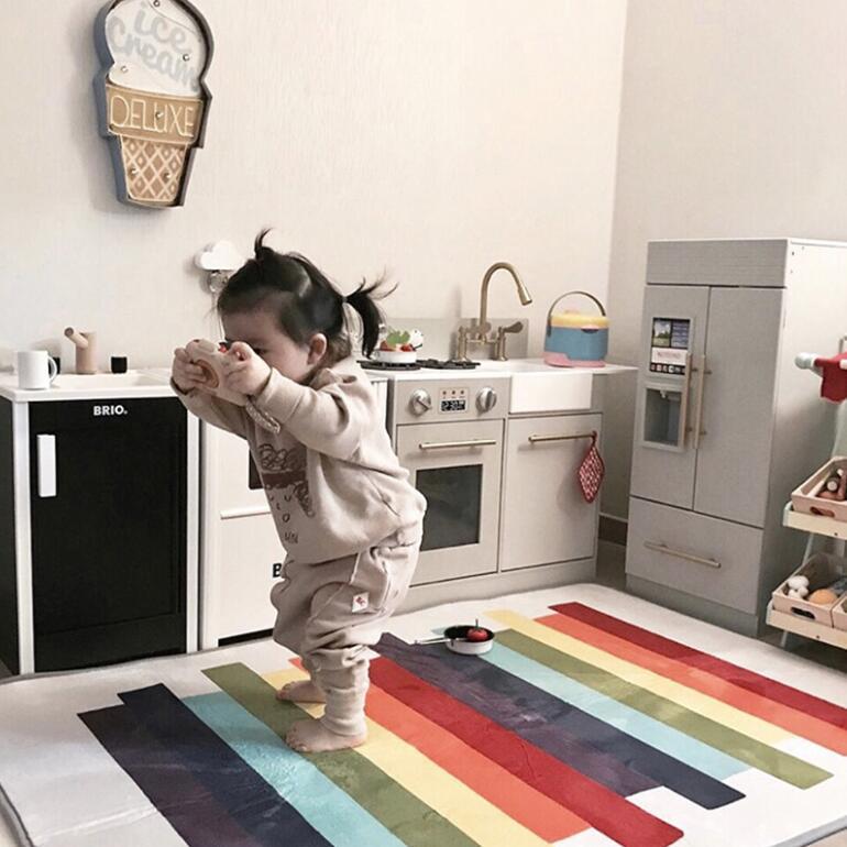 100X150 CM cristal cachemire couleur Bar tapis enfants jouer tapis pour salon bande dessinée enfants chambre tapis café Table tapis