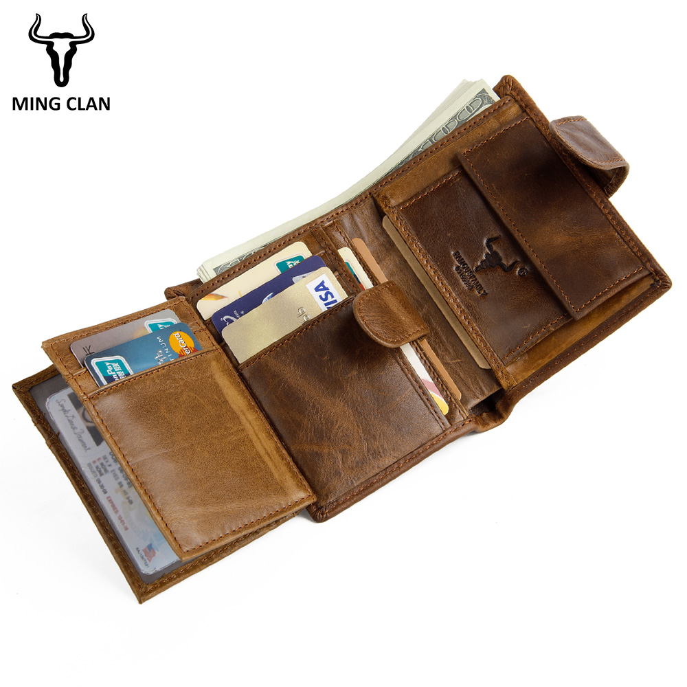 Mingclan Brand Men's Wallet Men Zipper Purse Clutch Bag Male Wallet Coin Short Section Portfolio Crazy Horse Card Pocket Holder gzcz genuine leather wallet men zipper design bifold short male clutch with card holder mini coin purse crazy horse portfolio