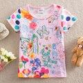 NEAT New 2016 baby kids fashion graffiti printing dot sleeve butterfly pattern children clothing 100% cotton T-shirts K3750#
