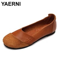 YAERNI 2017 New Arrival Woman Shoes Slip On Ladies Brand Flats Genuine Leather Style 2 Colors