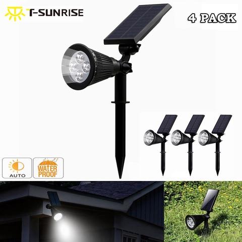 4 pack 4 ajustavel lampada movido a energia solar levou luz da em terra paisagem