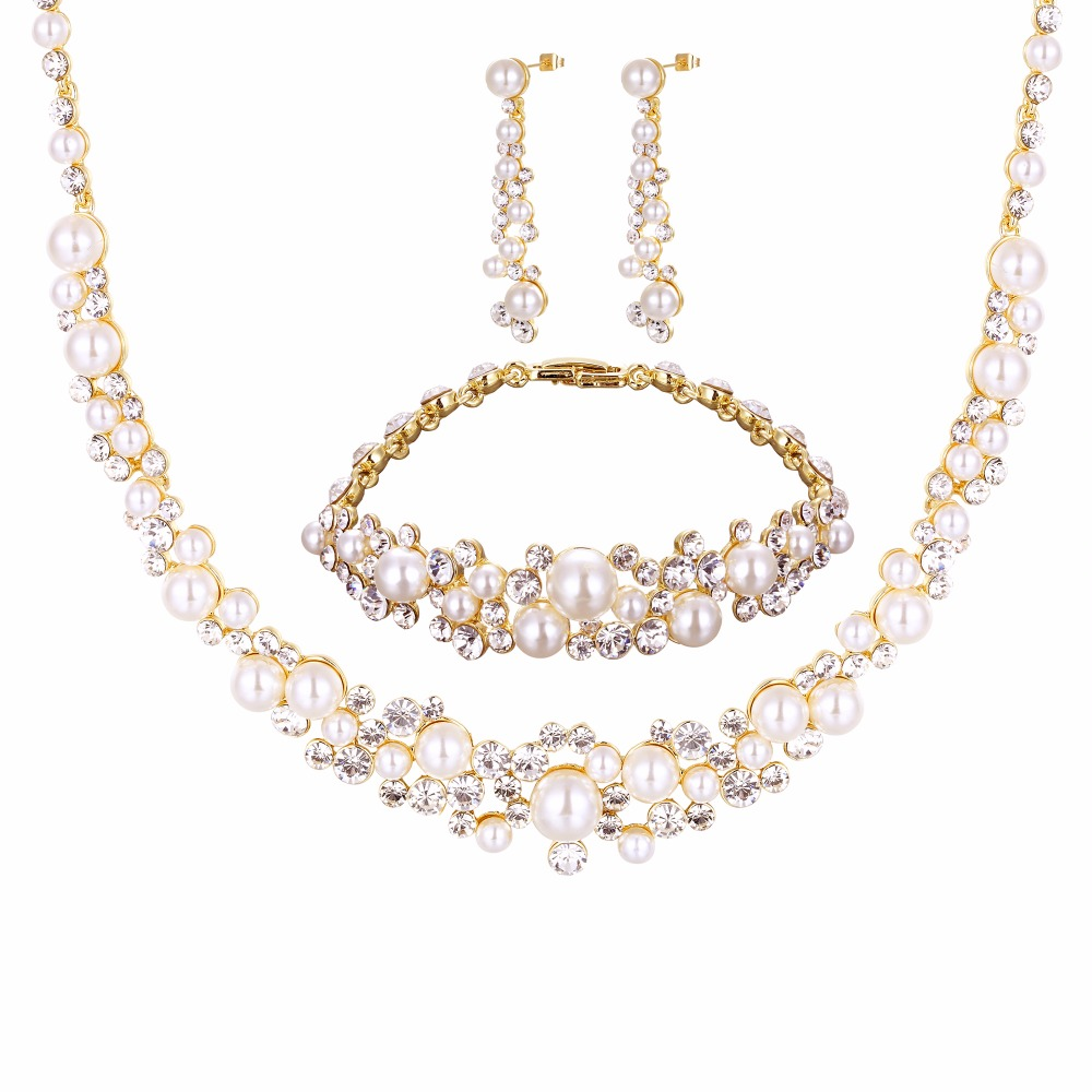 5fc034dea Wholesale Fashion Silver Color Crystal Pearl Wedding Costume Jewelry Sets  Necklace Earrings for women Bridal