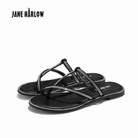 JANE HARLOW 2019 New Women Slippers Fashion Luxury Female Flip Flops PU Leather Summer Women Flat with Shoes