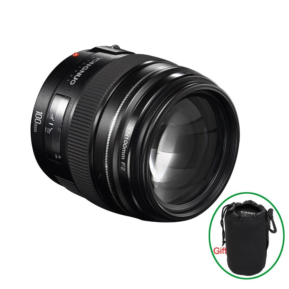 Yongnuo YN100mm F2 objectif moyen téléobjectif Prime pour Canon EOS rebelle caméra AF objectifs MF