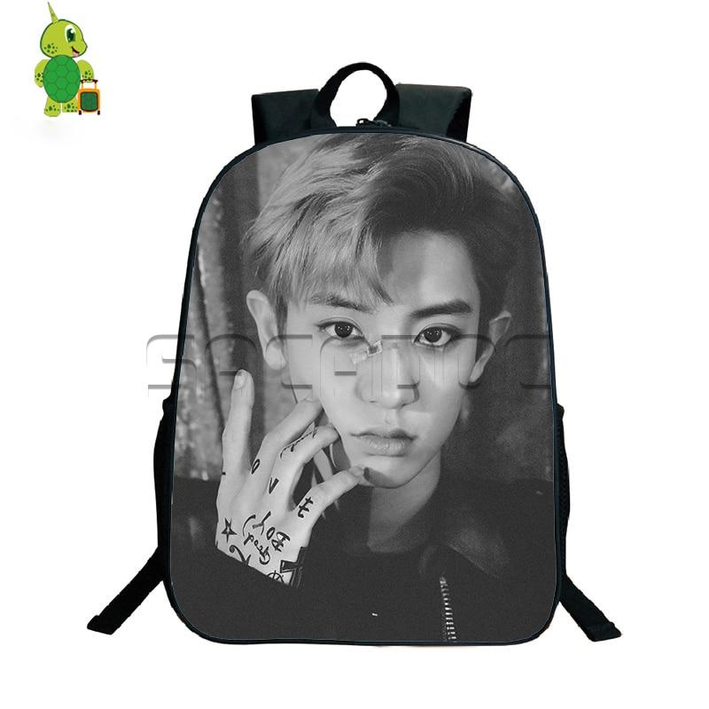 Kpop EXO Lotto Backpack Korean Style Travel Bags Boys Girls Idol CHANYEOL SEHUN KAI School Bags Young Women Men Daily Bags Harley-Davidson Sportster