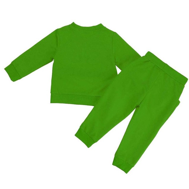 ABWE Best Sale child big eyes Smile zipper Long sleeve Sweatshirts Piece suit Green 5T(Age:4-5Y)