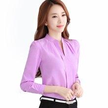 Chiffon blouses New 2017 Spring Women shirt Fashion Casual Long-sleeved chiffon shirt Elegant Slim Solid color plus size blusas