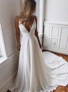 Image 4 - Vestido de noiva com renda, vestido de festa de casamento simples e charmoso com decote em v, vestido de casamento com costas