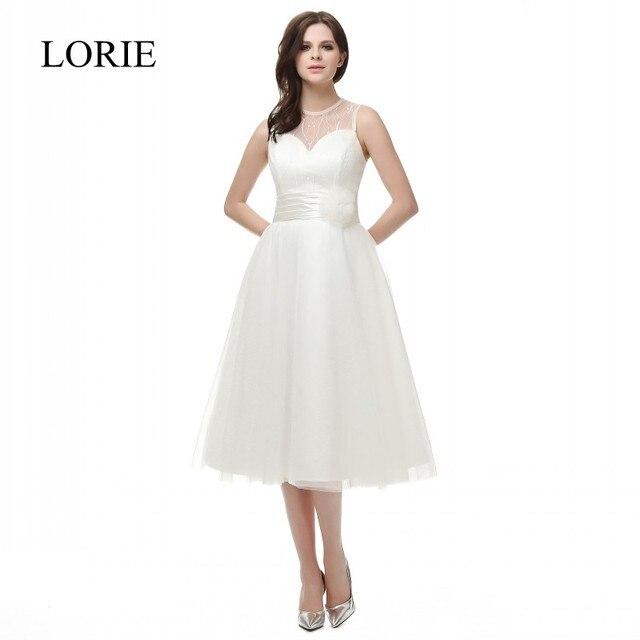 White Short Wedding Dress 2018 Vestido de noiva O Neck Vintage Tulle ...