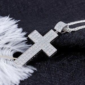 Image 3 - Transgems Cross Shaped Pendant for Men Silver Clear Moissanite VVS1 2