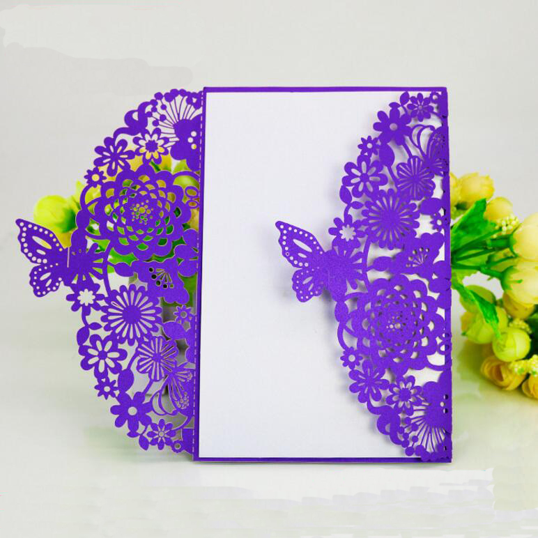 50pcs/pack Laser Cut Butterfly Invitation Card with Envelope Carved Wedding Invitations Birthday Party Christmas Event Supplies 1 design laser cut white elegant pattern west cowboy style vintage wedding invitations card kit blank paper printing invitation