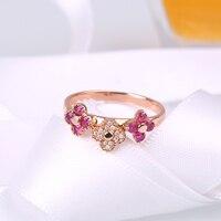 Robira פרח טבעת נישואים למעלה איכות תכשיטי 14 K רוז זהב חן טבעת יהלום אצבע סיטונאי גדלים מלא של נשים טבעות