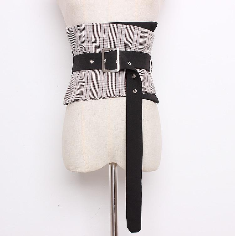 Women's Runway Fashion Plaid Checked Cummerbunds Female Dress Corsets Waistband Belts Decoration Wide Belt R1375