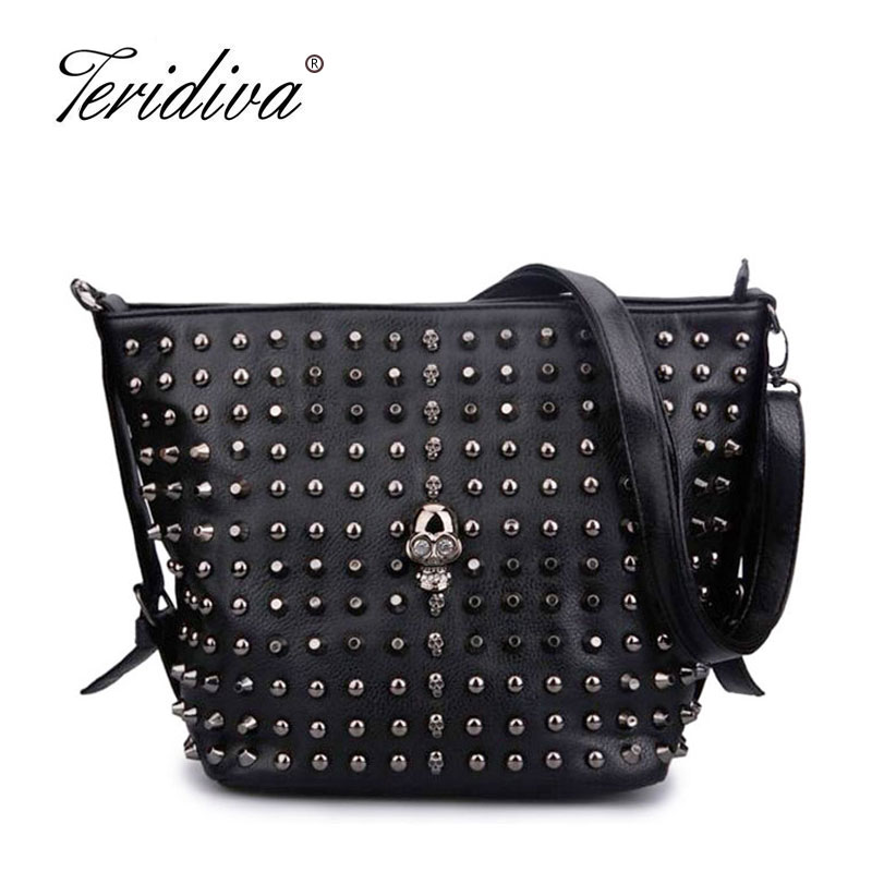 Teridiva Bucket Bag Women's Fashion Handbag Solid Color Skull Shoulder Bag Women Rivet Handbags Messenger Bags Punk Bolsos Mujer punk style solid color and rivets design women s shoulder bag