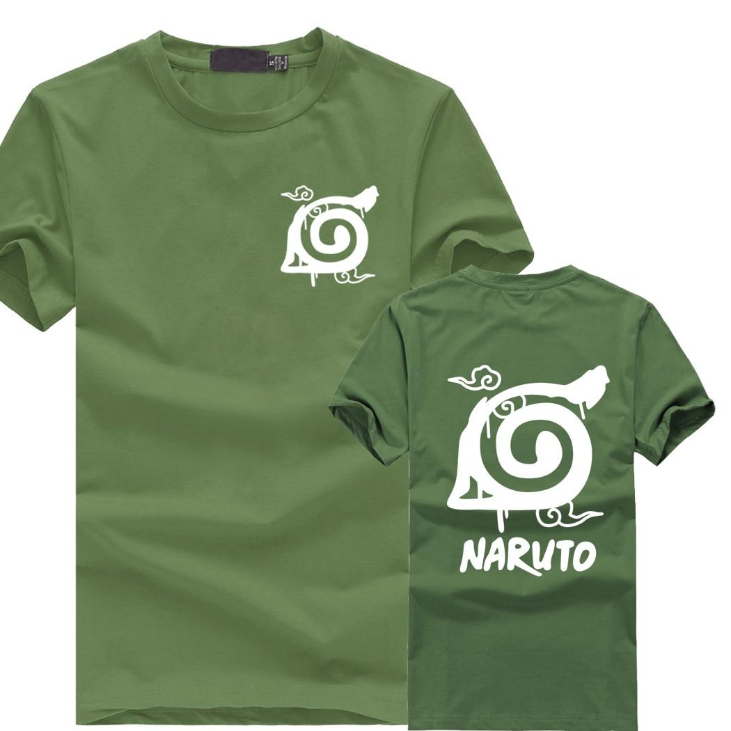 man 2018 summer anime Wooden Leaves Ninja Village logo Printed Short Sleeve T Shirt Men cotton casual Clothing NF97-NF121
