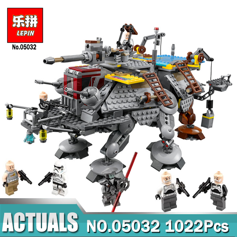Lepin 05032 Star Series Wars The Captain Rex's AT-TE Building Blocks Lepin Boys Toys Gift compatible legoINGLY 75157 Model lepin 1022pcs star series wars captain rex s at te building blocks brick lepin 05032 boys toys gift compatible legoingly 75157