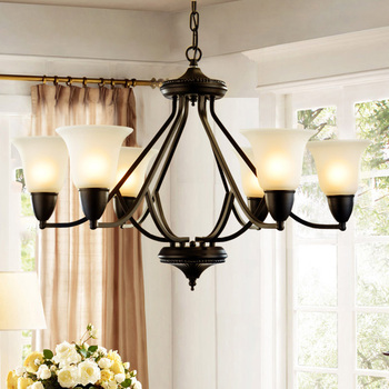 LED negro pintado hierro forjado cristal colgante luz moderna lámpara 8  cabeza colgante iluminación ...