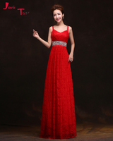 Jark Tozr Vestido Longo De Festa Spaghetti Strap Open Back Crystal Beading Sashes Red Lace Formal