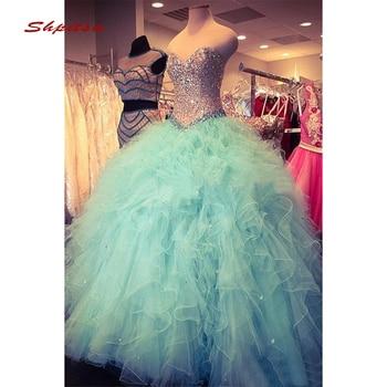 c319e7d54 Menta verde de lujo vestidos Quinceanera vestido de bola de cristales tul  baile de Debutante 16 dulces 16 vestido vestidos de 15 años