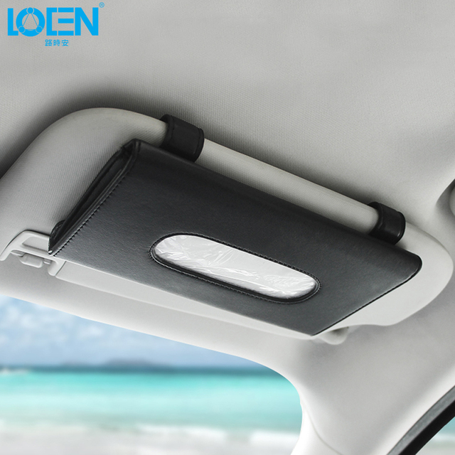 Luxury PU Leather Car Tissue Box Mounted on Sun Visor Back Beige Seat Storage Car Styling Organizer Accessories Car Sun Visor