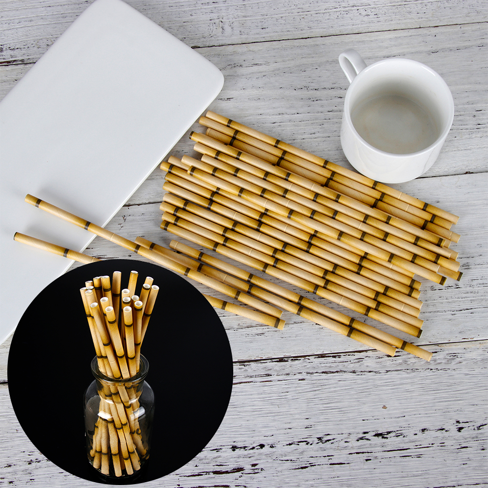 Wedding Birthday Party Biodegradable Bamboo Paper Bar Supplies Drinking Straw