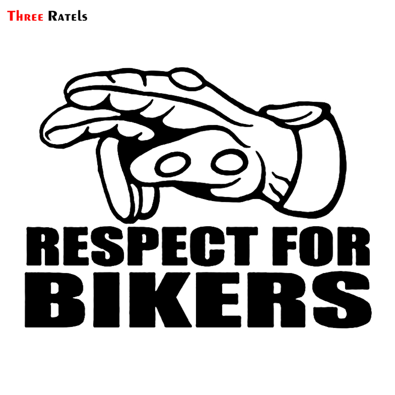 Three Ratels LBH483# 15x11.3cm Funny Car Stickers Respect For Bikers Gesture Car Stickers And Decals