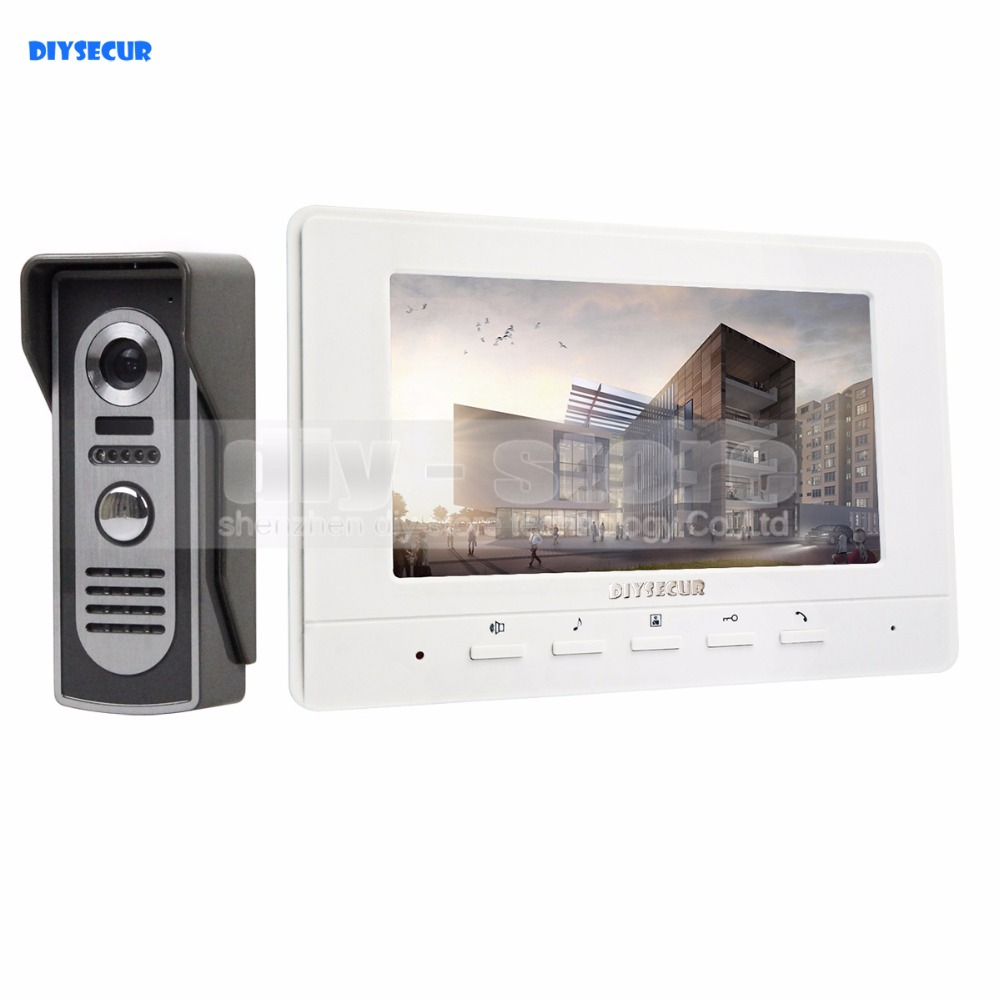 DIYSECUR 7inch Video Intercom Video Door Phone 600TV Line IR Night Vision Outdoor Camera for Home / Office Security System diysecur 7inch hd screen video door phone intercom hd outdoor unit camera night vision system 1 camera 1 monitor v70t f